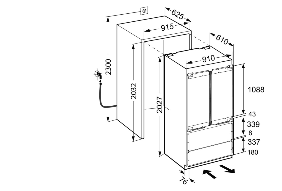 Installation instructions for a fridge