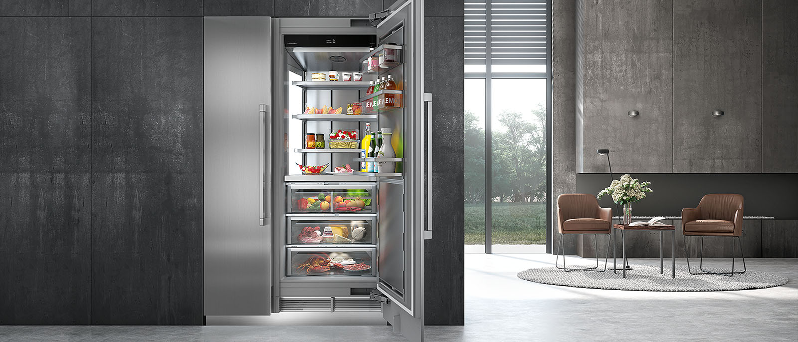 Liebherr LIREFSET300018511 Side-by-Side Column Refrigerator & Freezer Set with 30 Inch Refrigerator and 18 Inch Freezer in Stainless Steel