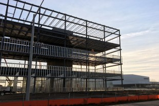 The final structural steel was recently placed on Liebherr's new administration building in Newport News, VA